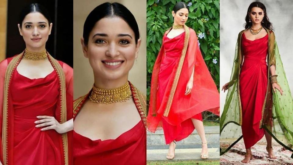 Tamannaah Bhatia,Red Dress,Tamannaah Bhatia Fashion