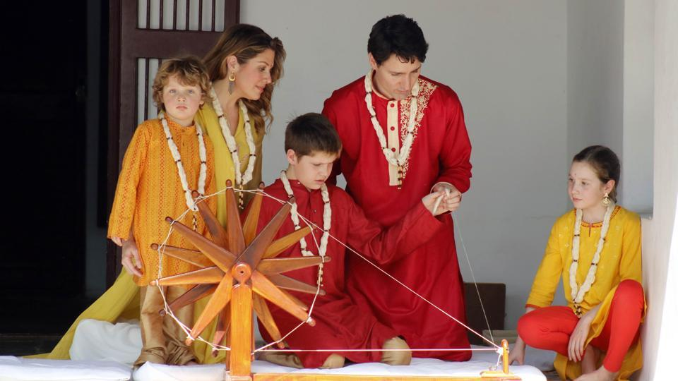 Canadian PM Justin Trudeau and his family visited Gandhi Ashram in Ahmedabad on Monday.The Canadian premier will meet Indian political leaders, civil society figures and corporate executives between ceremonial visits to religious sites and national memorials. (Siddharaj Solanki / HT Photo)