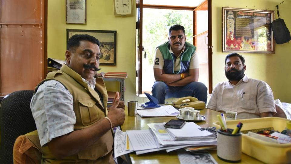 "Narpat Singh and Govind Singh (Karni Sena) discuss the film Padmaavat at Jauhar Bhavan  in Chittorgarh in Rajasthan. They are used to young women greeting them using the expression, ""Jai jauhar."" (Raj K Raj / HT Photo)"