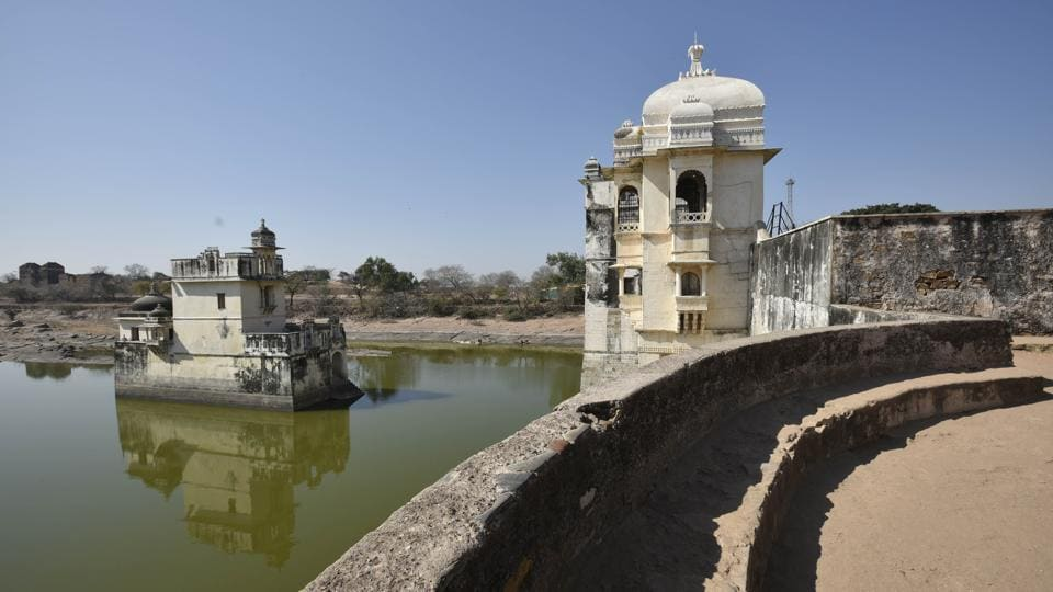 A view of Padmani Mahal at Chittorgarh in Rajasthan. Meanwhile, a plaque at what is popularly referred to as Padmini Palace inside the Chittorgarh fort was covered, allegedly by the Archaeological Survey Of India, after protests against the information imparted there.  (Raj K Raj / HT Photo)