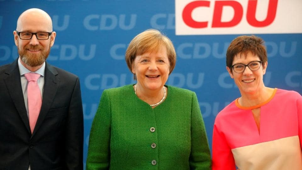 Secretary general of the Christian Democratic Union (CDU) Peter Tauber, German Chancellor Angela Merkel and Saarland State Prime Minister Annegret Kramp-Karrenbauer ahead CDU leadership meeting in Berlin, Germany on February 19.