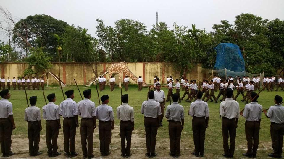 An RSS camp in progress at a school in Aurobindo Park, Malda, West Bengal in 2017.