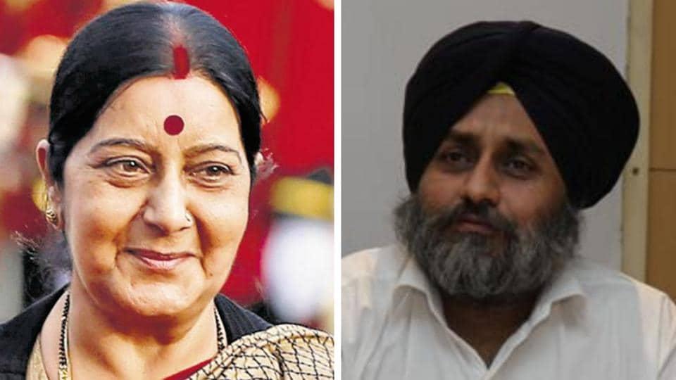Sukhbir Badal,Sushma Swaraj,Sikhs