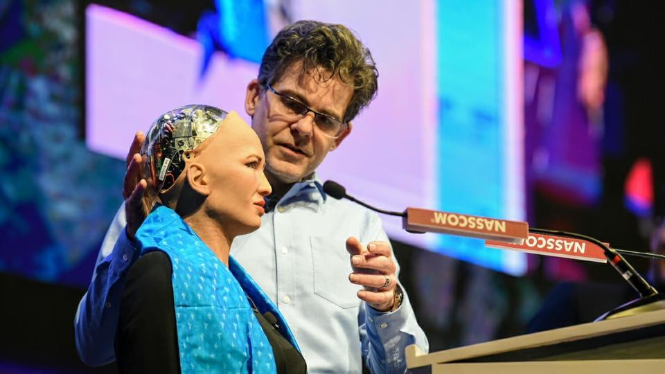 Sophia, a humanoid robot, with her creator David Hanson a the  World Congress on Information Technology in Hyderabad on Tuesday.