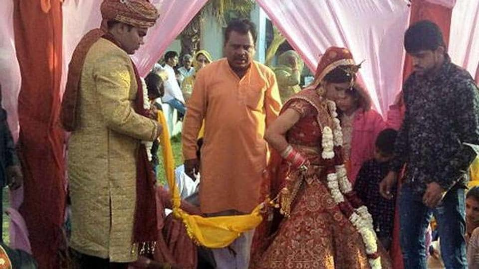 The two marriage ceremonies taking place at the banquet hall situated on Rohtak road.