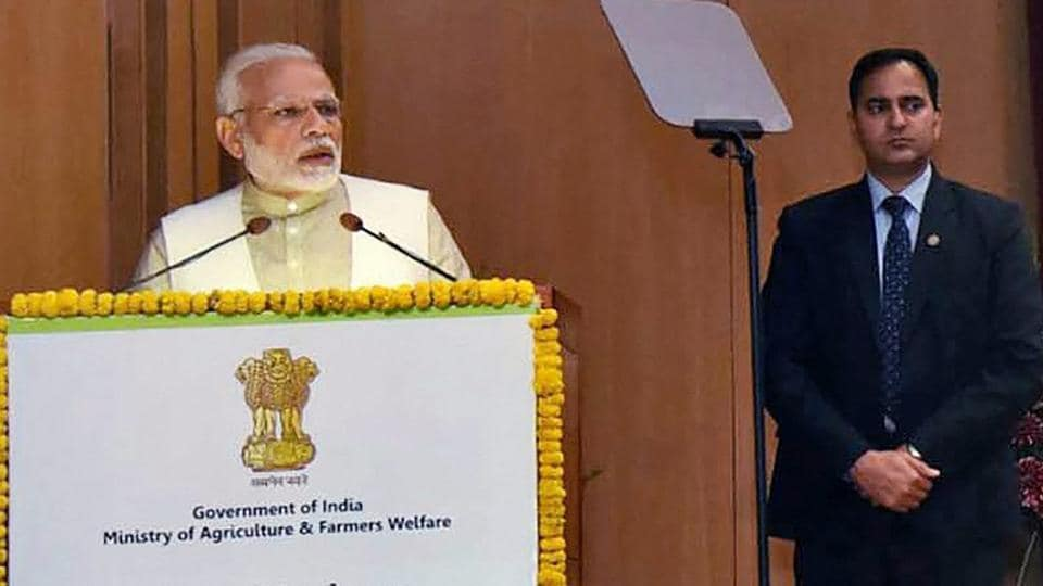 Prime Minister Narendra Modi addresses a National Conference on 'Doubling of Farmers Income by 2022' in New Delhi on Tuesday.