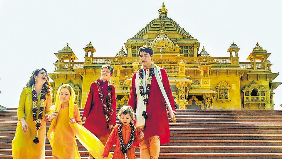 Canadian Prime Minister Justin Trudeau with his family members at the Swaminarayan Akshardham Temple in Gandhinagar on February 19, 2018.