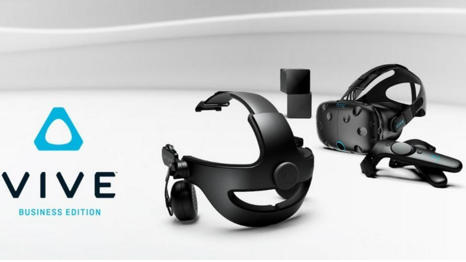 HTCVive Business Edition features four face cushions, two wireless controllers and two base stations