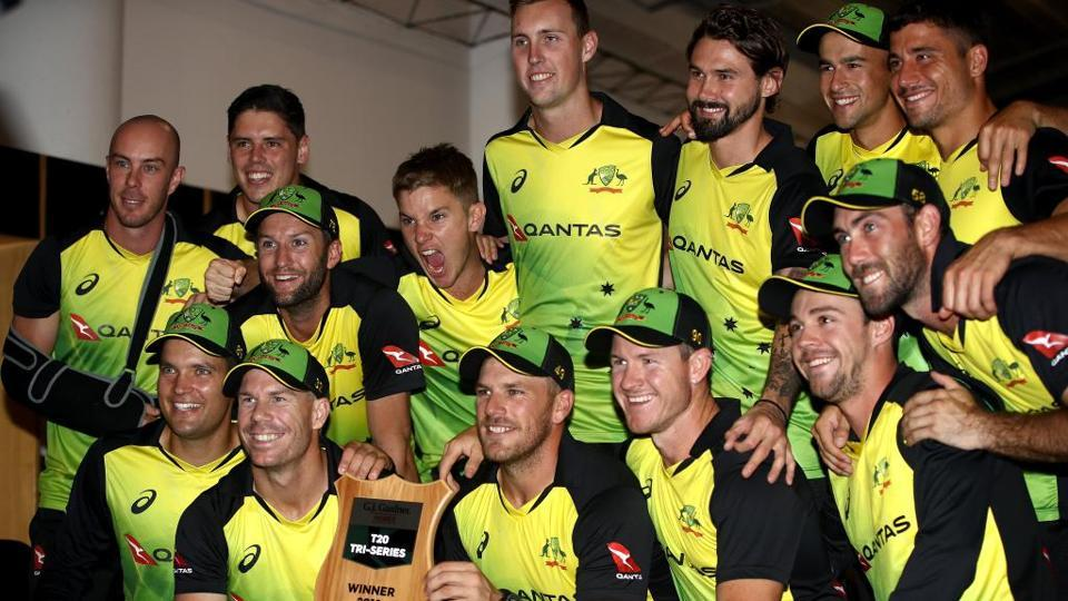 David Warner-led Australia claimed the trans-Tasman Twenty20 tri-series after Glenn Maxwell and Aaron Finch helped secure a 19-run win against New Zealand under the DLS method in the rain-affected final on Friday.