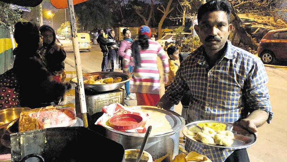 Shambhu Nath at his snack stall near Jagannath Mandir.