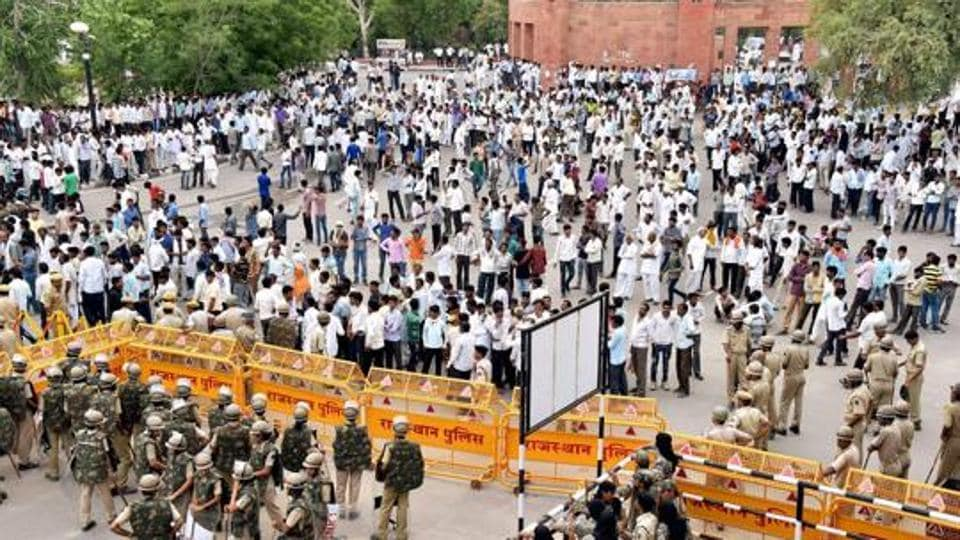 File photo of farmers' protest during their Mahapadav (sit-in) in Bikaner.