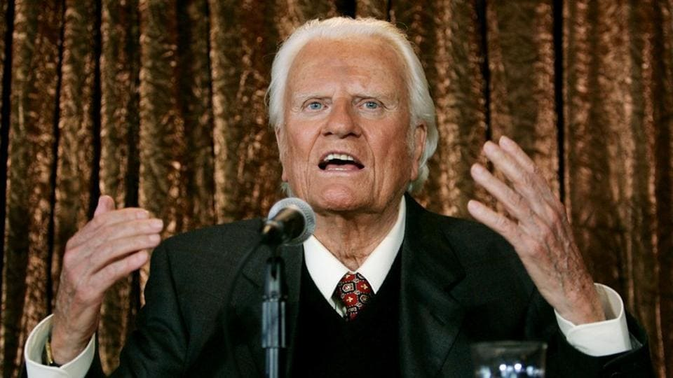 Evangelist Billy Graham speaks to members of the media at a news conference in New York, US on June 21, 2005.