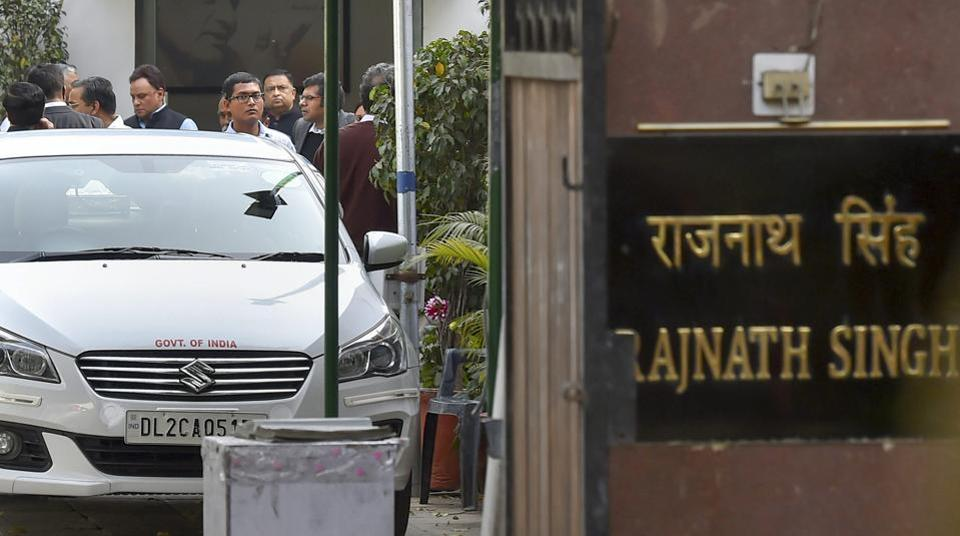 IAS officers outside Union home minister Rajnath Singh's office after a meeting over alleged assault on Delhi chief secretary Anshu Prakash by AAP MLAs in New Delhi.