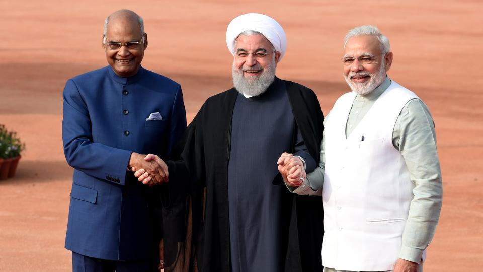 [From left]:President Ram Nath Kovind, Iranian President Hassan Rouhani and Prime Minister Narendra Modi during a ceremonial reception at the Rashtrapati Bhavan, New Delhi, February 17, 2018