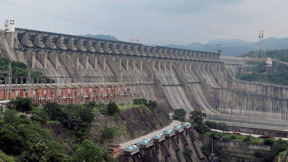 A view of the Sardar Sarovar Dam that was dedicated to the nation by Prime Minister Narendra Mod at Kevadiya in Narmada district on Sunday.