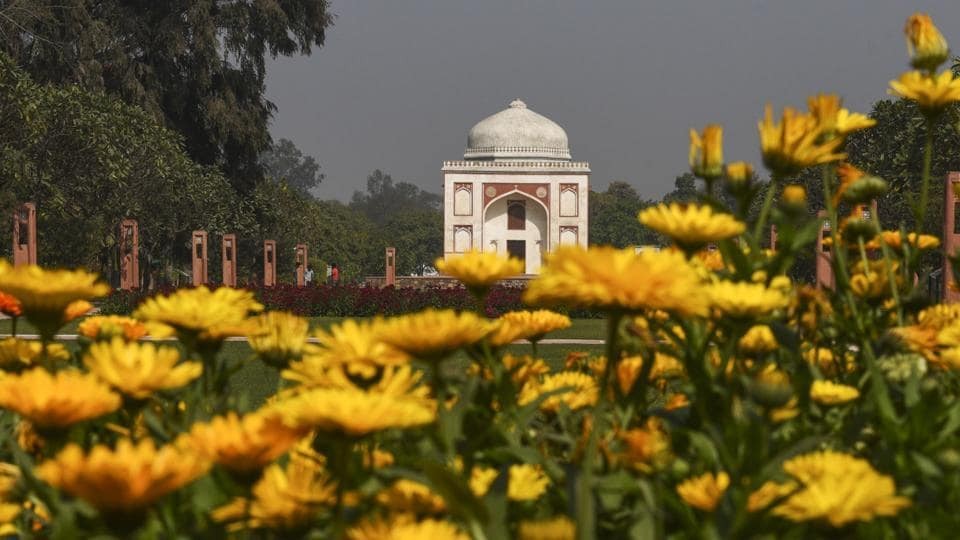 Sunder Nursery, the renovated park spread over 90 acres of lush green lawns adjacent to Humayun's Tomb in central Delhi's Nizamuddin, is set to be opened for the public as a heritage park. The campus will be inaugurated by vice president Venkaiah Naidu in the presence of The Aga Khan on Wednesday. (Vipin Kumar / HT Photo)