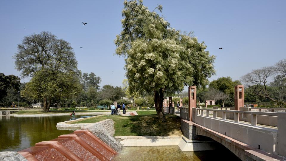 A view of the water channel near the Sunder Burj tomb. Inspired by traditional Mughal gardens with Persian carpet patterns, the central axis acts as a primary pedestrian spine for visitors. It follows the path of the 16th century Grand Trunk Road connecting the entrance zone of Humayun's Tomb World Heritage Site with the 16th century Azimganj Serai in the north. (Vipin Kumar / HT Photo)