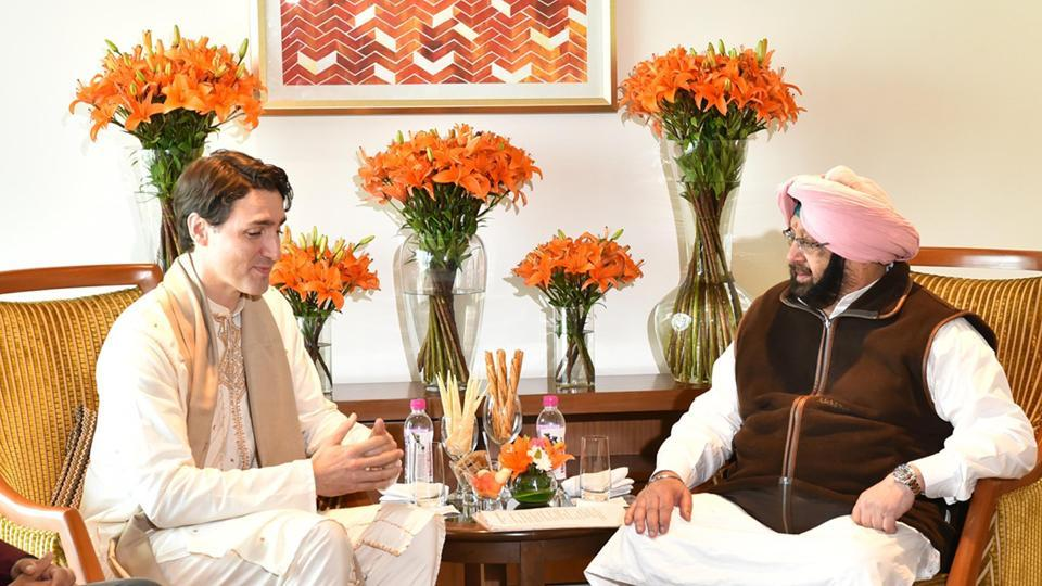 Justin Trudeau, along with his defence minister Harjit Sajjan on Wednesday met Punjab CM Captain Amarinder Singh. The meeting, which began with a handshake, lasted for a little over half an hour. Amarinder had earlier refused to meet Trudeau, claiming the Canadian Prime Minister's cabinet members supported the formation of Khalistan. (HT Photo)