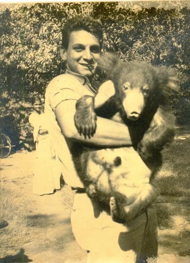 Donald Anderson with Bruno, the pet sloth bear.