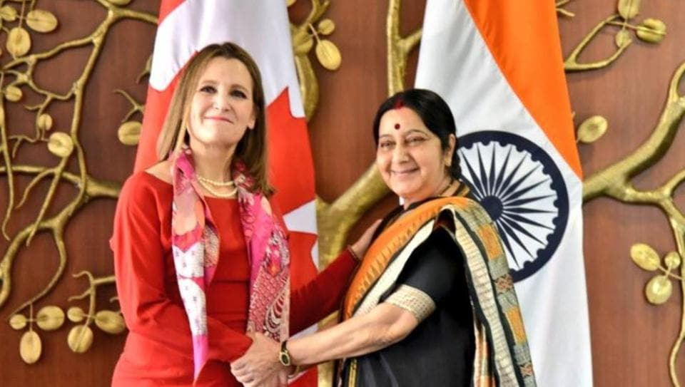 Sushma Swaraj,Chrystia Freeland,Modi