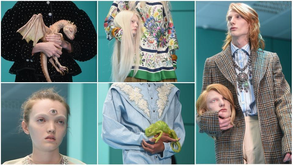 42cb9518837 Models carried dragons and even heads down the catwalk at Gucci s Milan  Fashion Week runway. (AFP)