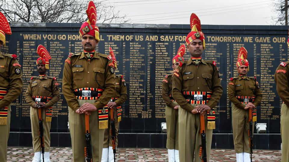 BSF personnel pay tributes to constable S K Murmu during a wreath laying ceremony in Srinagar on Thursday. Murmu was killed in cease fire violation by Pakistan on LoC  yesterday.  (PTI)