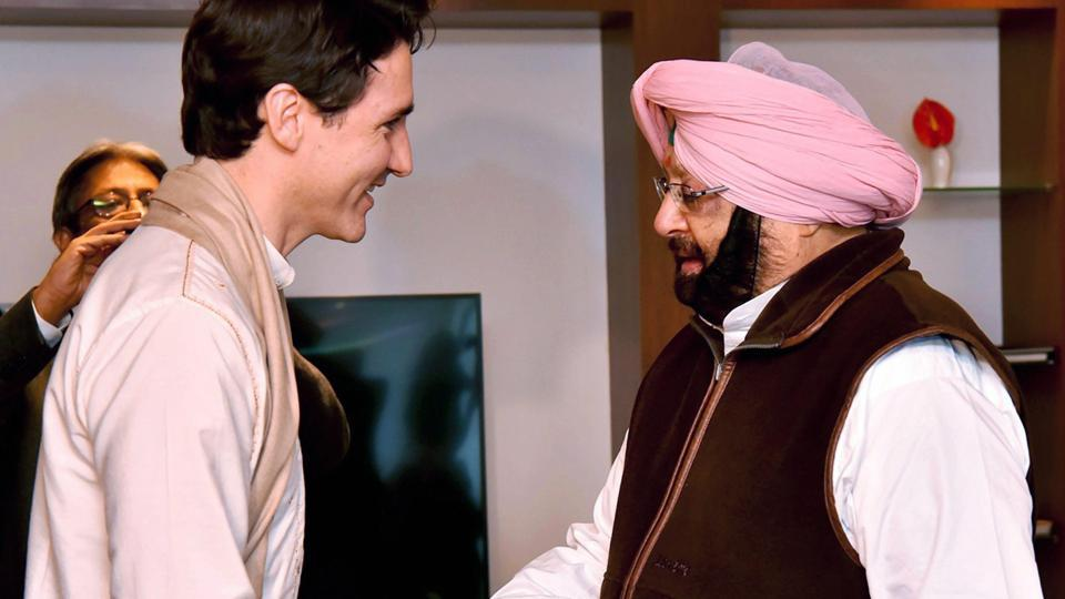 Canadian Prime Minister Justin Trudeau shakes hands with Punjab chief minister Amarinder Singh in Amritsar on Wednesday.
