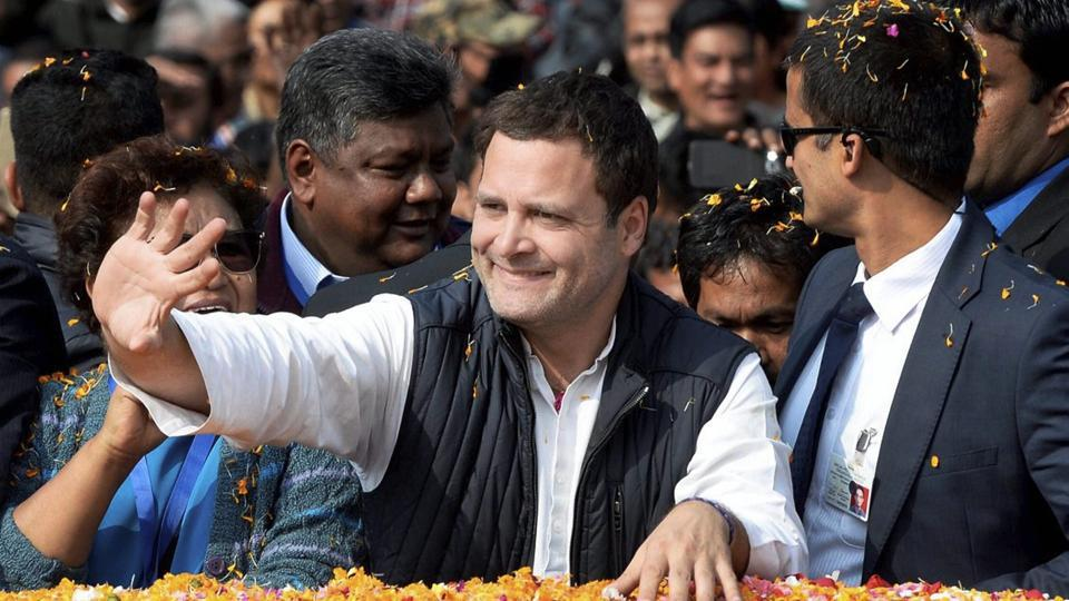 Congress president Rahul Gandhi waves during a rally in Shillong on Wednesday.