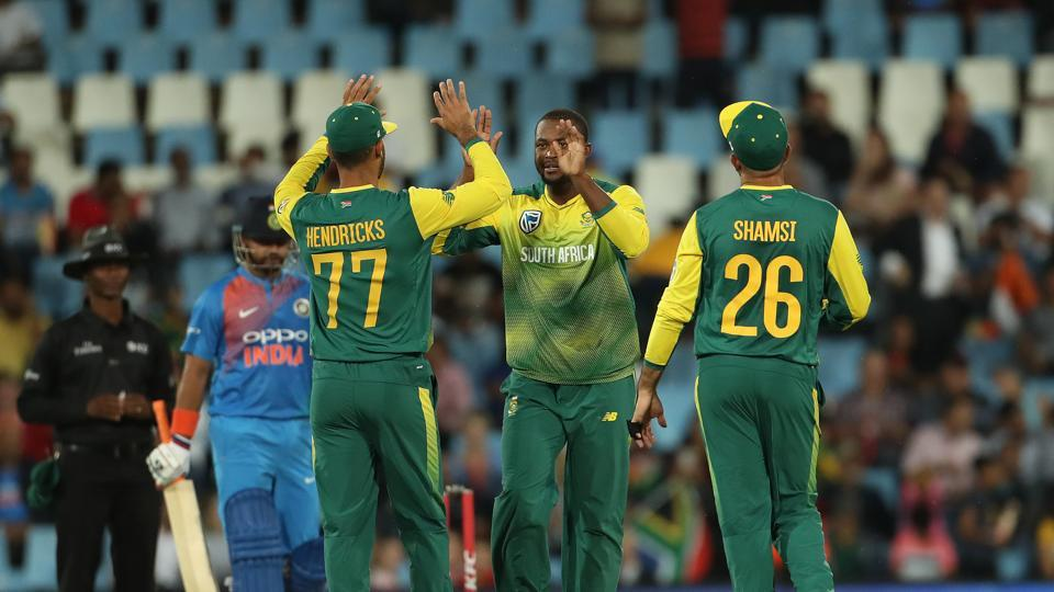Andile Phehlukwayo trapped Raina LBW for 30 but Manish Pandey looked in great touch. (BCCI)
