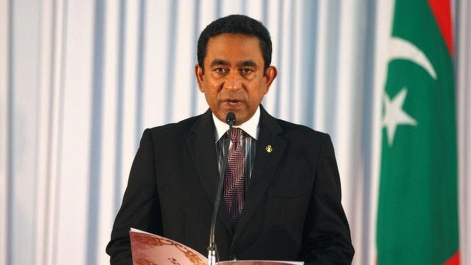 Abdulla Yameen takes his oath as the President of Maldives during a swearing-in ceremony at the parliament in Male November 17, 2013.