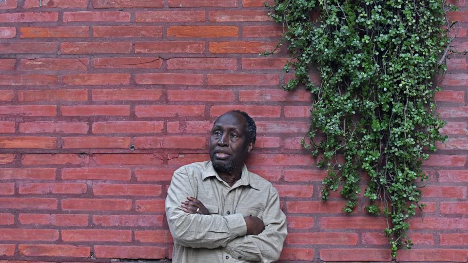 Kenyan writer Ngugi Wa Thiong'o , a titan of world literature, at the India Habitat Centre in New Delhi . He is in Delhi for the ILF Samanvay Translations Series 2018 .