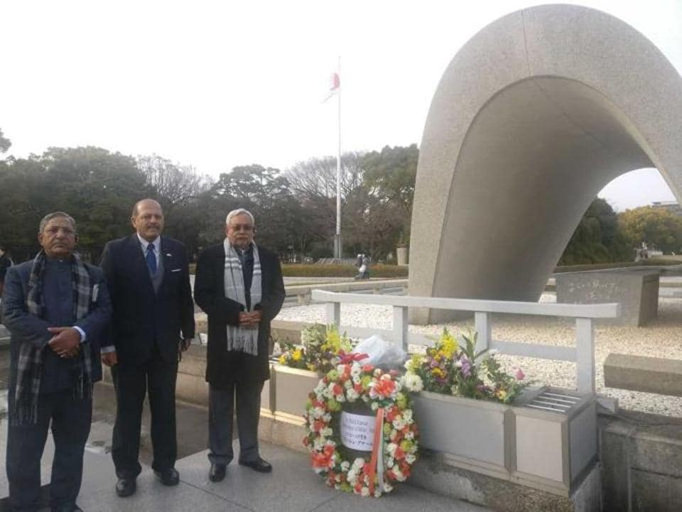 Bihar chief minister Nitish Kumar at the Hiroshima memorial on Wednesday.
