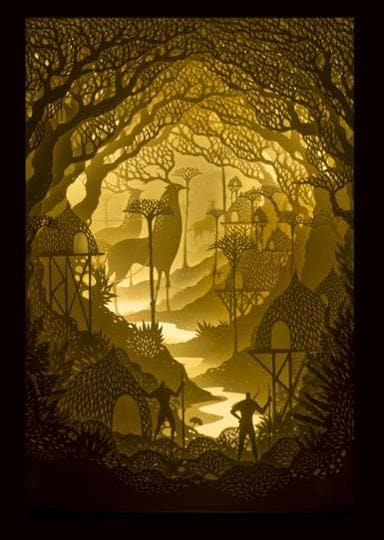 Husband-wife artist duo Harikrishnan Panicker and Deepti Nair use paper to create dioramas or 3D models of landscapes back-lit with LED.