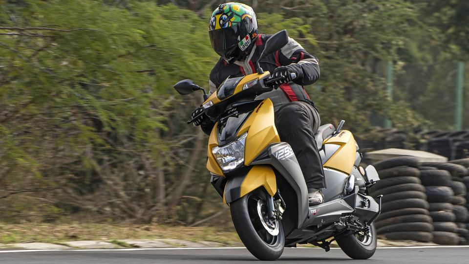 TVS says that the styling of the new 125cc scooter has been inspired by a stealth aircraft and that it can be seen in its sharp and angular lines.