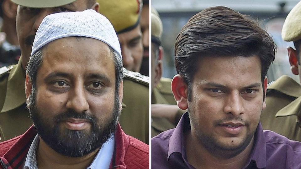 This combination of photos show AAP MLAs Amanatullah Khan and Prakash Jarwal being produced at Tees Hazari Court in Delhi.