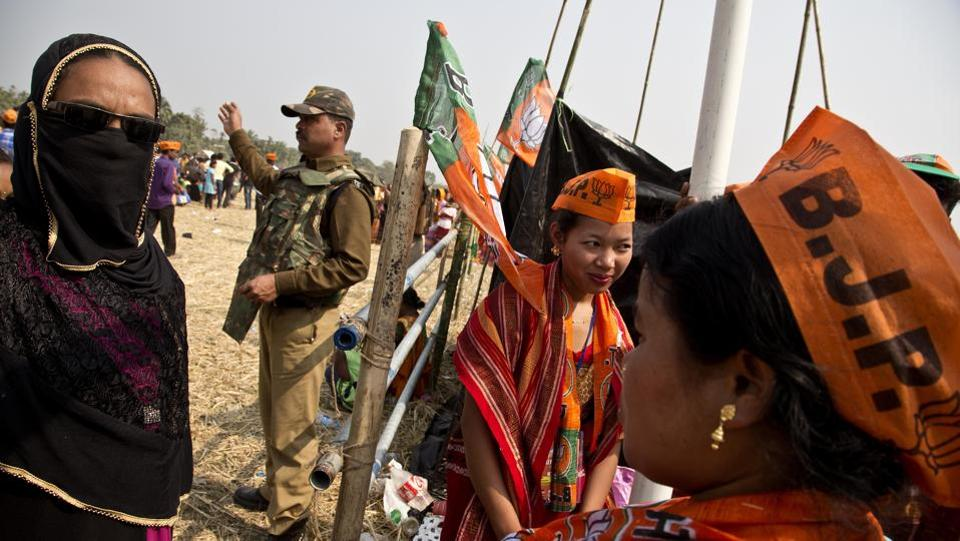 Supporters of Bharatiya Janata Party during an election rally in Phoolbari village in Garo Hills, Meghalaya on February 22. Meghalaya state assembly election is scheduled to be held on February 27. (Anupam Nath / AP)