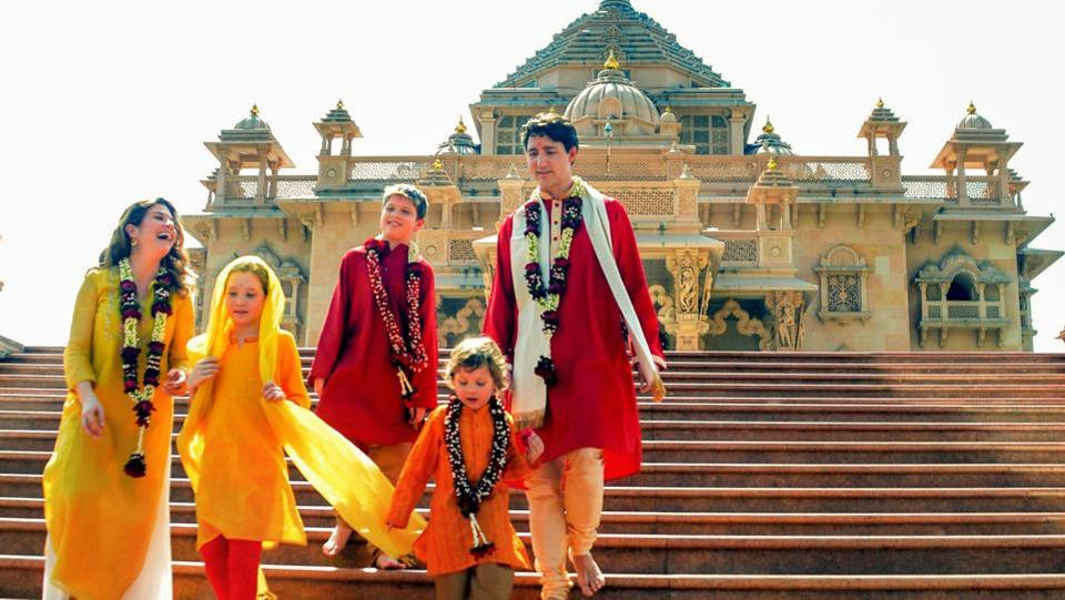 Canadian Prime Minister Justin Trudeau along with his family members visit Swaminarayan Akshardham Temple in Gandhinagar on February 18. (PTI)