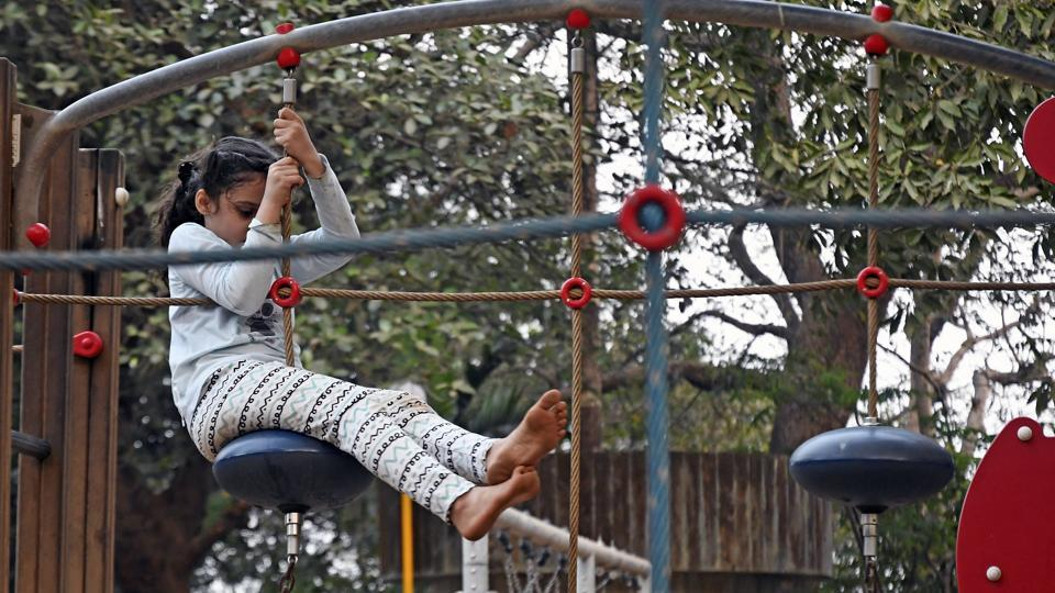 A girl tests the revamped playground at Malabar Hill. (Shashi S Kashyap/HT)
