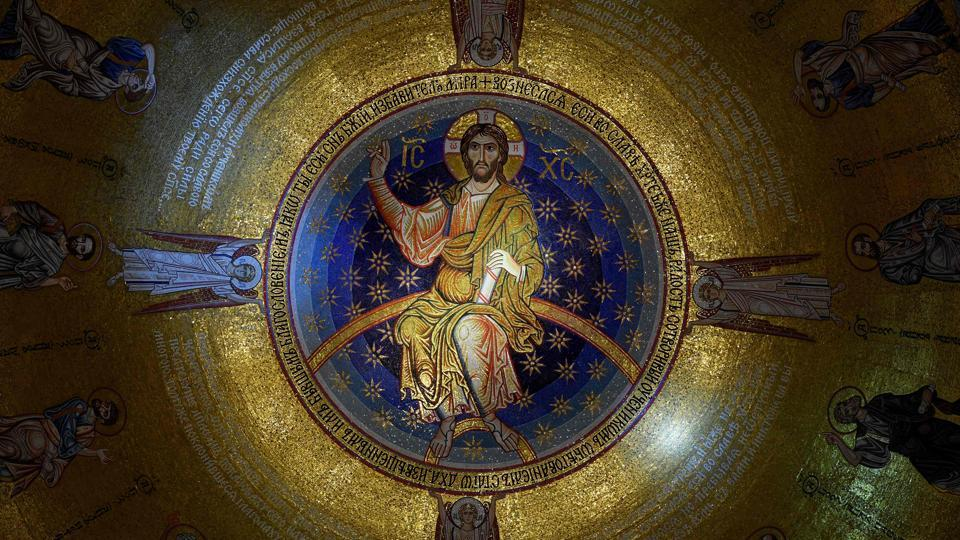 This picture shows the new mosaic in the Saint Sava Serbian Orthodox church in Belgrade.