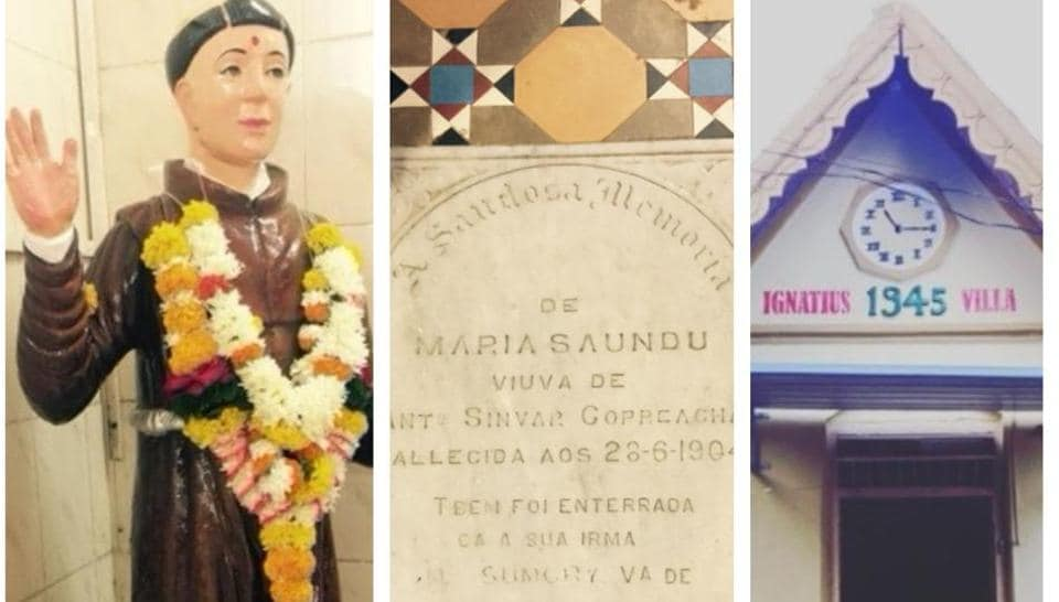 Some of the exhibits from East Indian Memory Co. (From left to right) A statue of St Bonaventure at Erangal, in Madh Island, Malad; a tomb marker in Vasai which is  part of the main church's flooring and has engraved text in Portuguese; one of the older houses in the village Giriz.