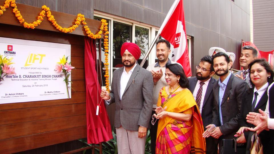 Punjab technical education and industrial training minister Charanjit Singh Channi inaugurating a students' sports and fitness centre during a job fair at Rajpura in Patiala district on Saturday.