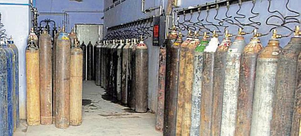 The oxygen cylinders at the Guru Nanak Dev hospital in Amritsar on Saturday.
