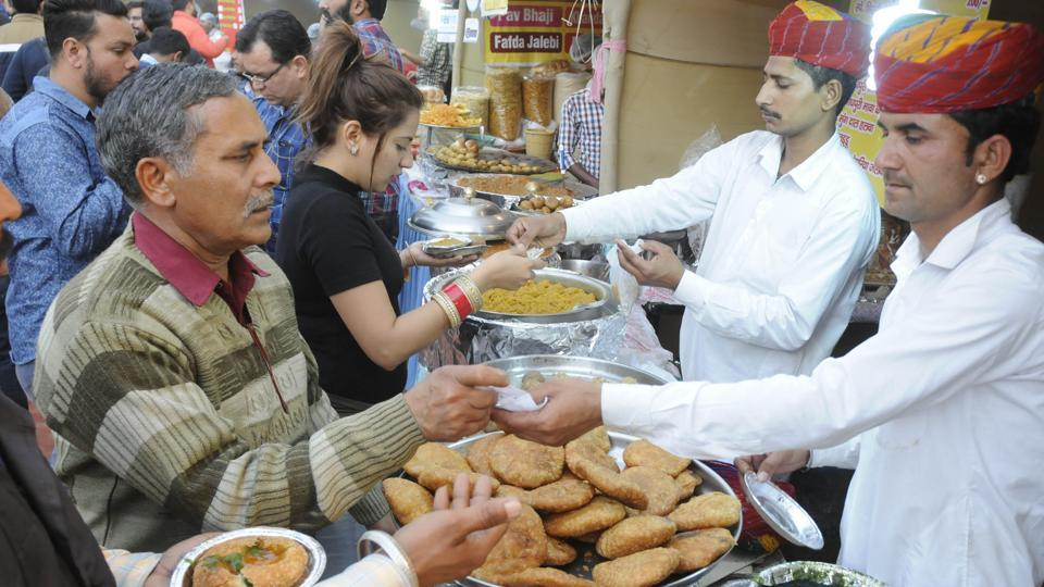 Patiala, India-23 February 2018 :::: Visitors enjoying foods Saras fair Sheesh mahal in Patiala on Friday, February 23, 2018.photo by Bharat Bhushan Hindustan Times.