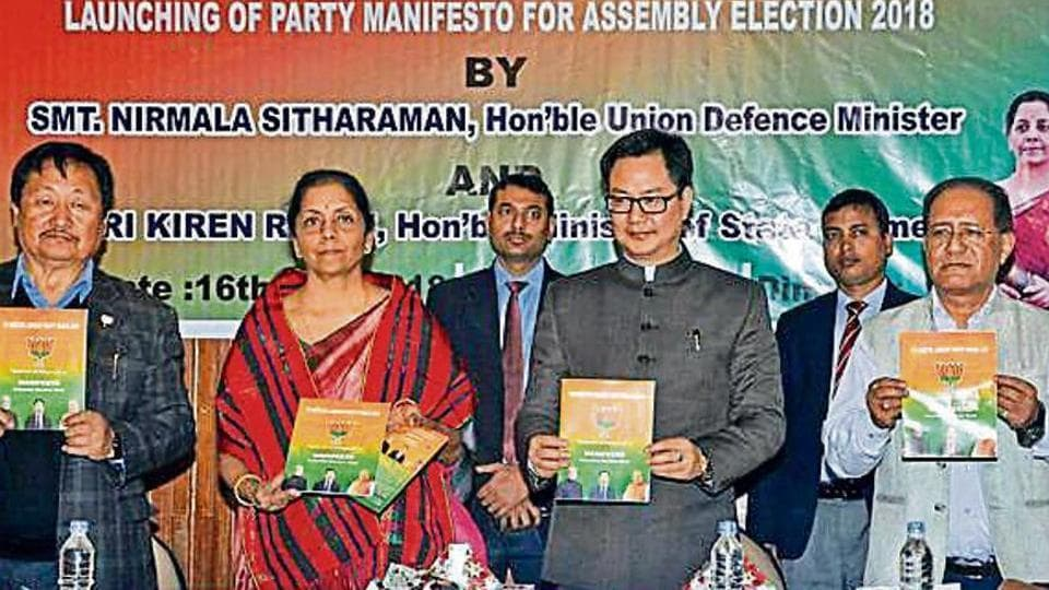 Union defence minister Nirmala Sitharaman and Union MoS for home Kiren Rijiju (second from right) at the party's manifesto release in Dimapur this month.