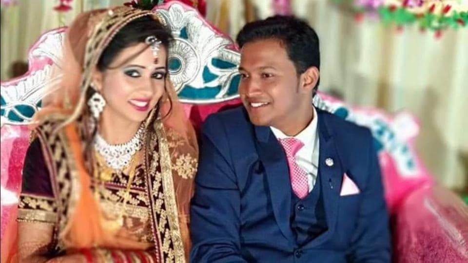 The man was killed and his wife is critically injured after a parcel bomb wrapped as a wedding gift exploded.