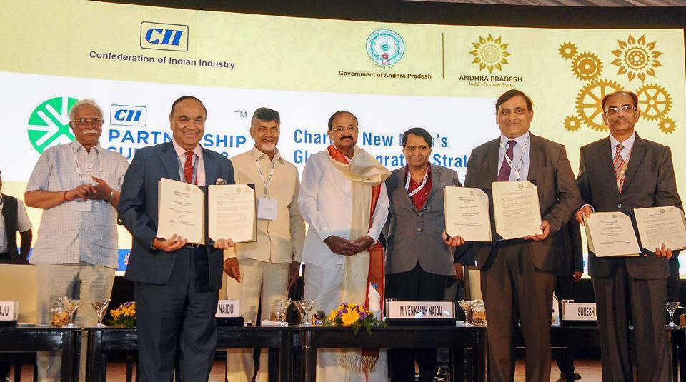 Vice president M Venkaiah Naidu witnesses the exchange of MoUs at the CII Partnership Summit 2018, in Vishakhapatnam on Saturday. Andhra Pradesh CMN Chandrababu Naidu and Union minister for commerce and industry Suresh Prabhakar Prabhu, among others, are also seen.