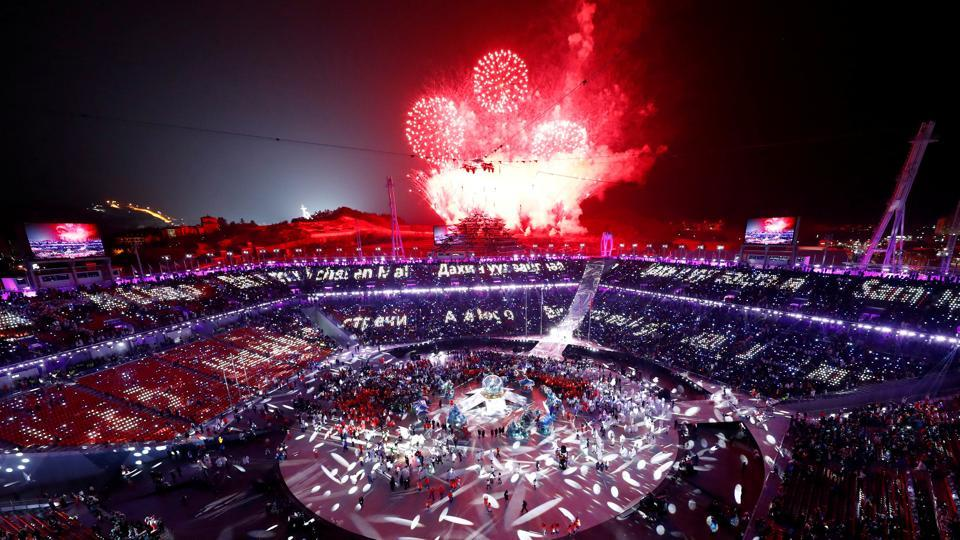 Fireworks explode during the closing ceremony in Pyeongchang. (REUTERS)