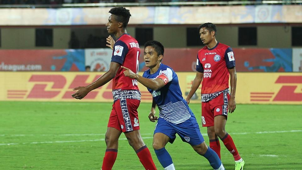 Sunil Chhetri and Miku scored for Bengaluru FCas they remained on top of the Indian Super League with a 2-0 win over Jamshedpur FC.