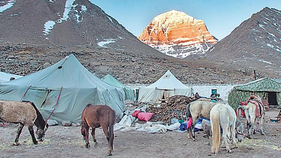 The Kailash mountain at first light of sunrise in Tibet.
