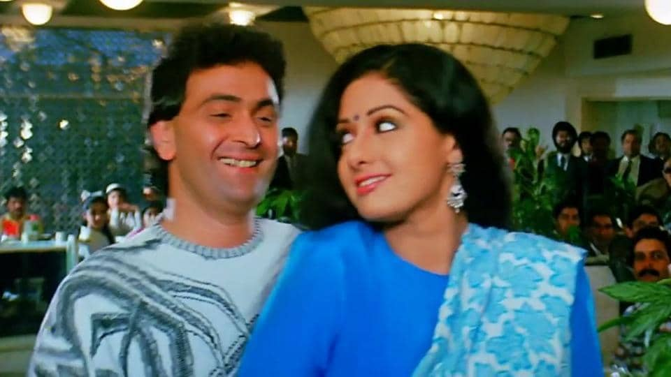 Sridevi worked with Rishi Kapoor in films such as Chandni and Nagina.